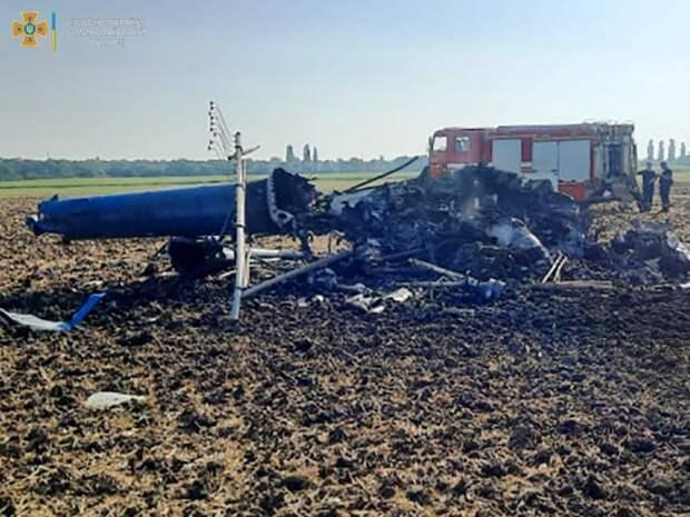 При крушении вертолета в Николаевской области погибли два человека. Появилось видео