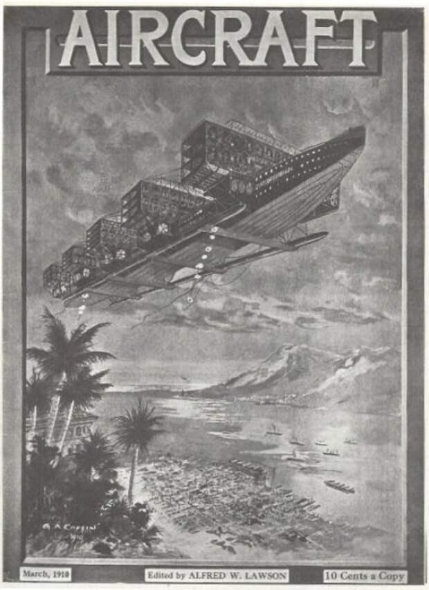 Именно так в 1910 году люди представляли себе авиалайнеры. | Фото: simanaitissays.com.