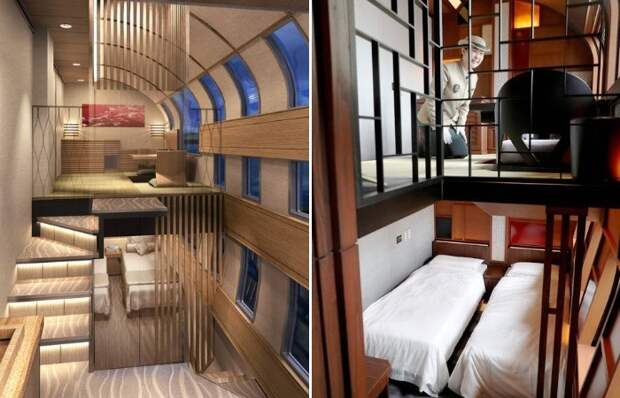 Двухъярусный номер «Люкс» самого комфортабельного поезда в мире (Shiki-shima). | Фото: posta-magazine.ru