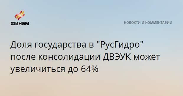 """Доля государства в """"РусГидро"""" после консолидации ДВЭУК может увеличиться до 64%"""