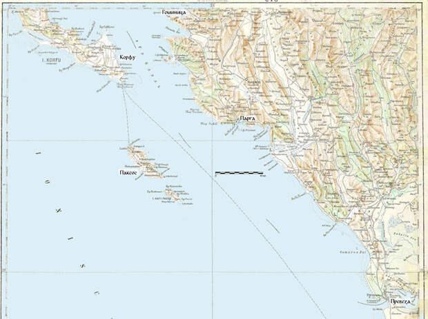 Корфу, Парга и Превеза на топографической карте - Превеза: Священная лига ставит точку | Warspot.ru