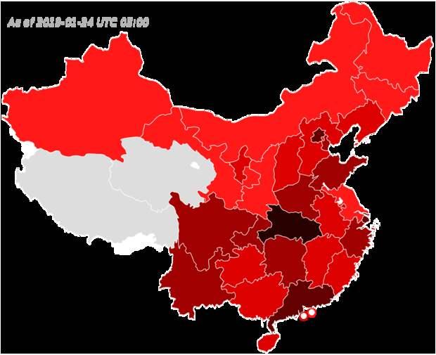Карта распространения нового коронавируса 2019 года по регионам Китая. Черным показаны регионы распространения на 11 января 2020 года, более светлыми оттенками — на 20, 21, 22 и 23 января (чем позже, тем светлее). Географически распространение выглядит очень быстрым / ©Wikimedia Commons