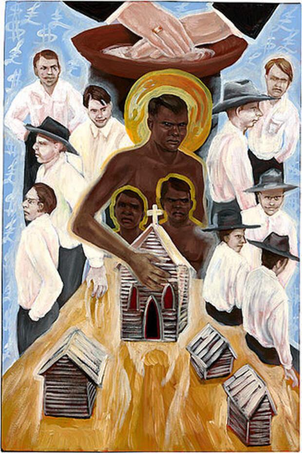 Икона аборигенов Австралии. Интересно, что в их варианте Христос укрывает коренных австралийцев от белых варваров.