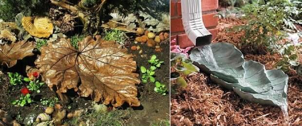 Делаю листья из бетона и украшаю сад: поделкам удивляются все гости