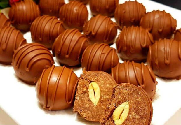 Домашние конфеты с орехом внутри: делаем без выпечки и масла
