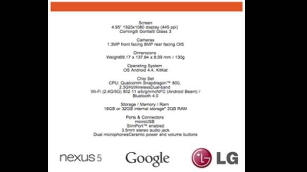Стали известны официальные характеристики Nexus 5