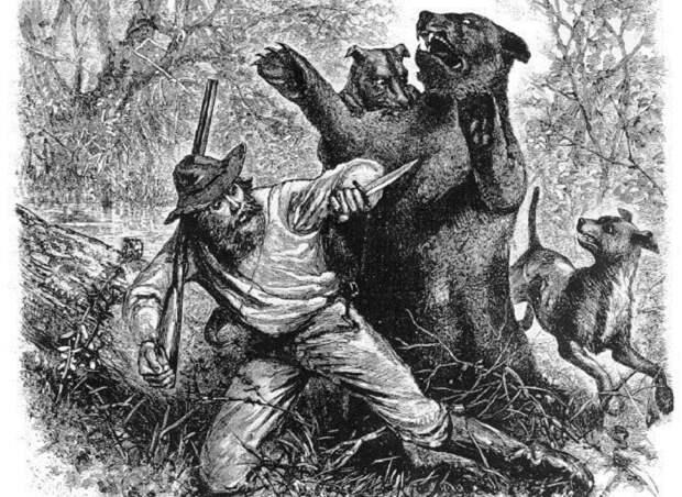 Хью Гласс подвергается нападению медведицы. Иллюстрация из газеты 1823 года.