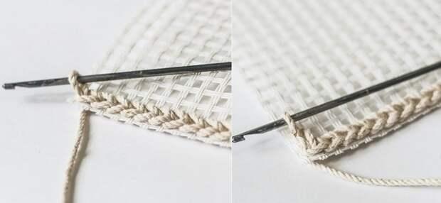 как связать коврик спицами