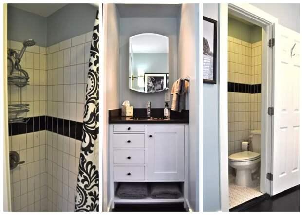 Ванная комната в мини-коттедже (Bird House, штат Северная Каролина).
