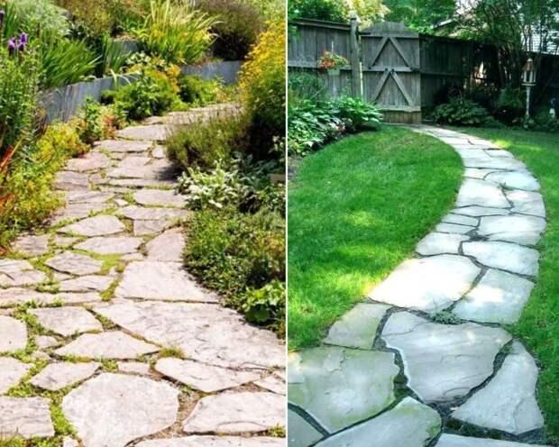 Тропинки из камня всегда органично вписываются в ландшафт.