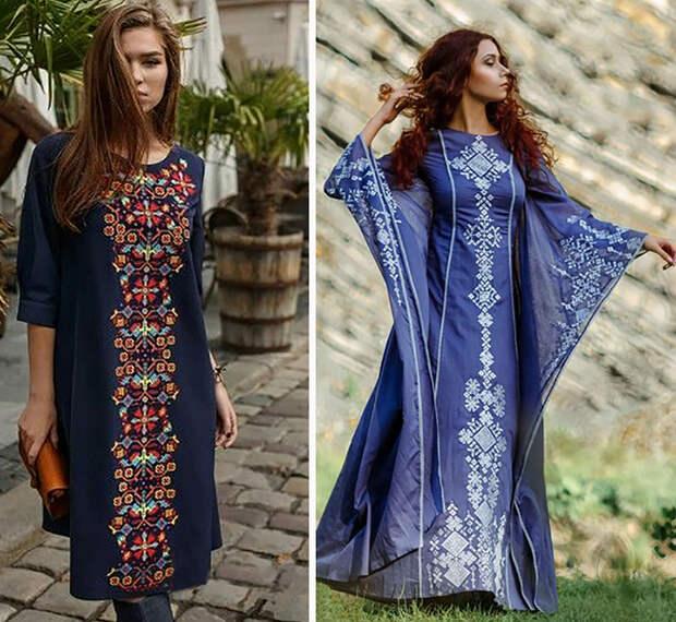 платья с вышивкой в пол