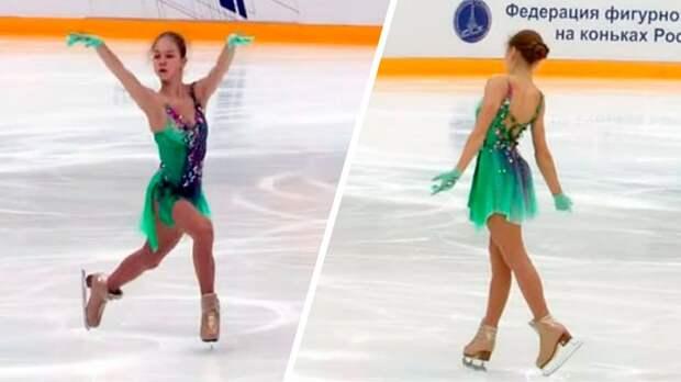 Трусова в новом платье исполнила тройной аксель на тренировке