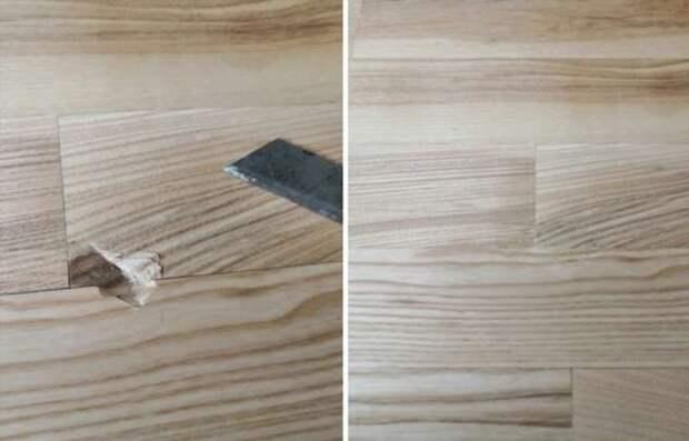 Как убрать вмятины на деревянной поверхности без покупных средств: плотницкая хитрость