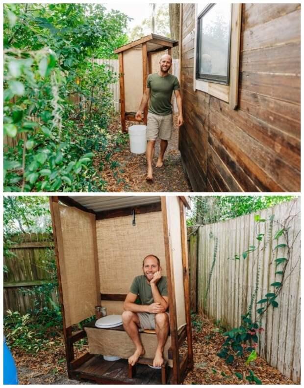 Туалет и душевая на улице за домом («Teeny Greeny», США).   Фото: robgreenfield.tv.