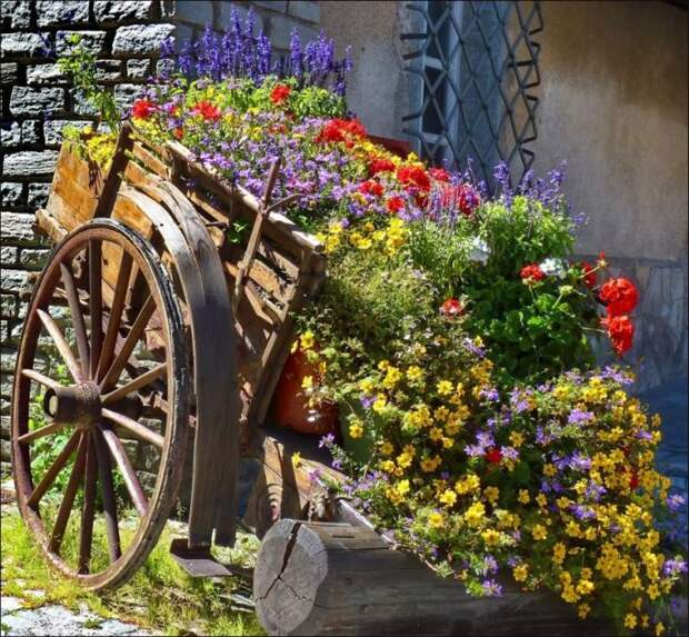 Тот самый случай, когда старая тележка превращается в роскошный вазон для цветов.