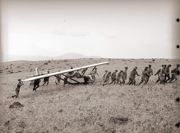 Men in Uniform Pulling Glider, 1930s Japan