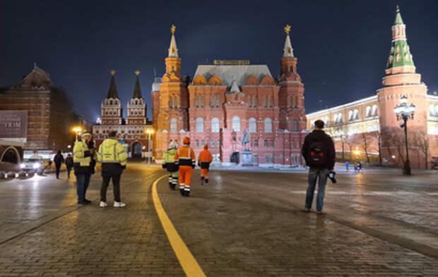 В Москве нанесли временную разметку для военной техники
