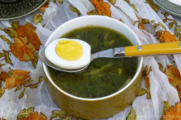 Суп готов! Подавать со сметаной и половинкой яйца.