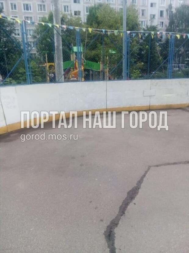 Сорняк захватил хоккейную коробку на улице Исаковского