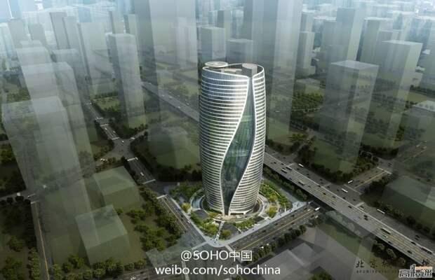 В Пекине построили винтовой эконебоскреб, который разделен на две половины
