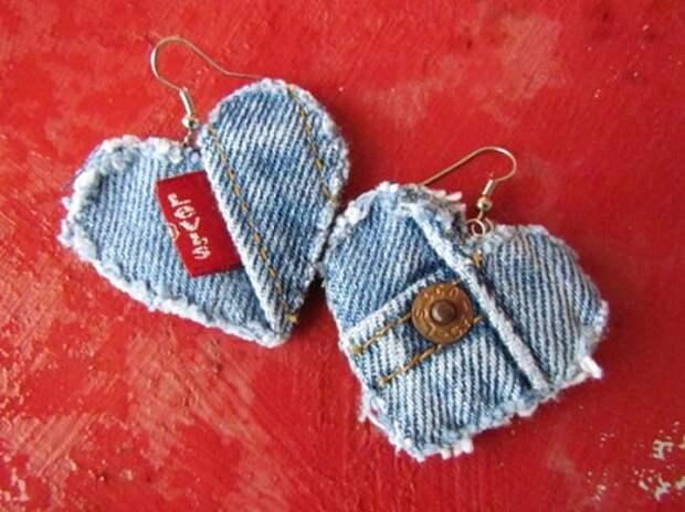 Украшения из джинсы своими руками / серьги из джинсовой ткани