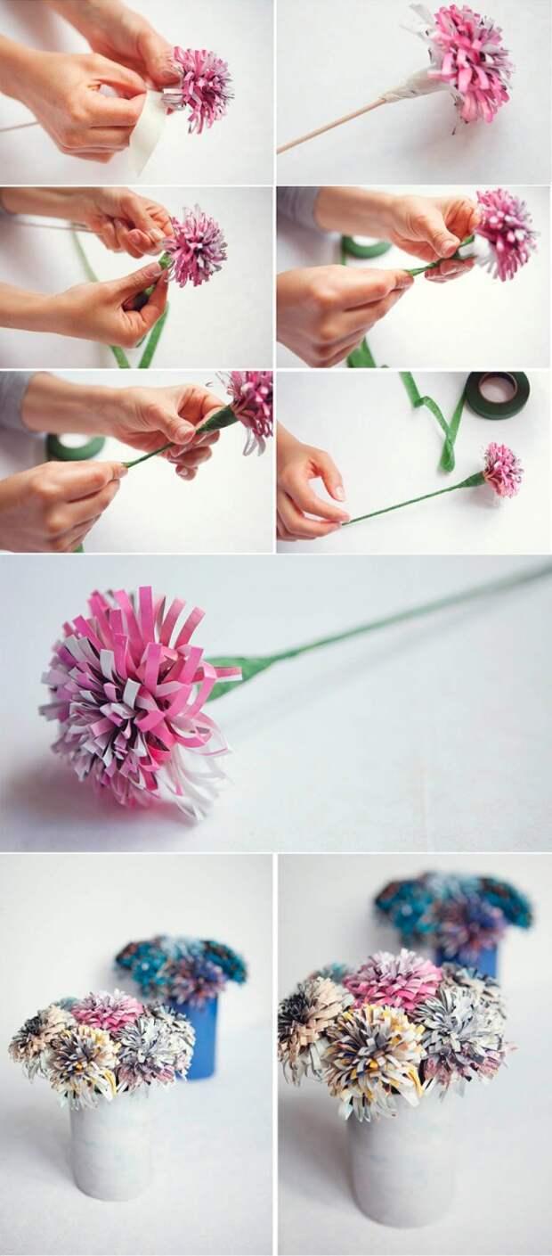 шаг 5 создание цветка из газетной бахромы