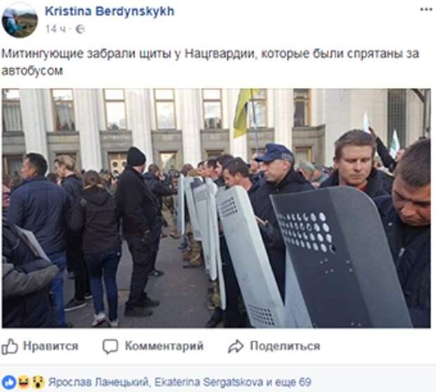 Особенности национальной революции: во время протестов под Радой у Нацгвардии украли щиты