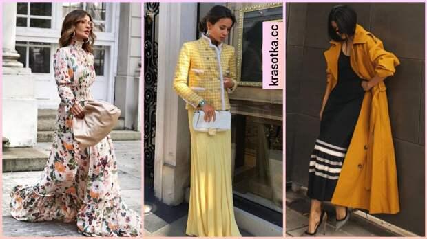 С чем стильно носить платье в пол осенью: 13 модных и женственных идей