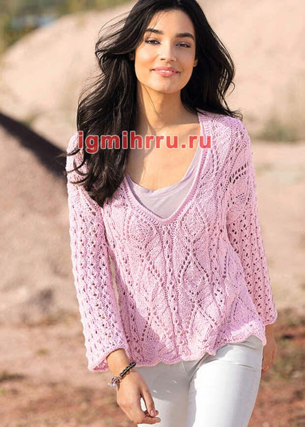 Романтичный пуловер с сочетанием узоров