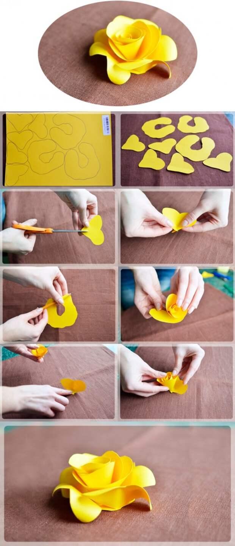 желтая роза из бумаги