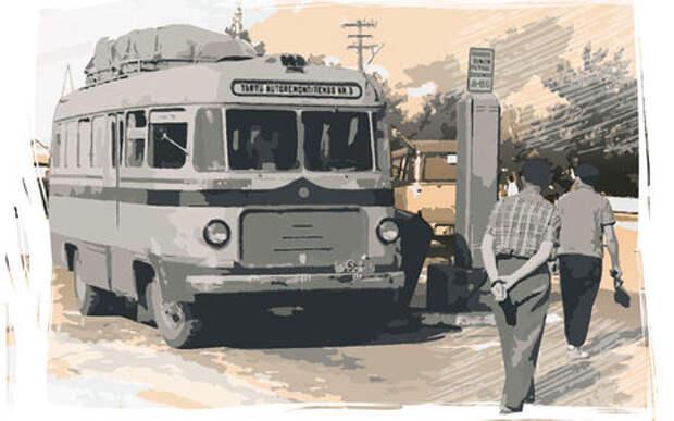 Самый необычный автобус СССР: тормоз — справа, газ — посередине