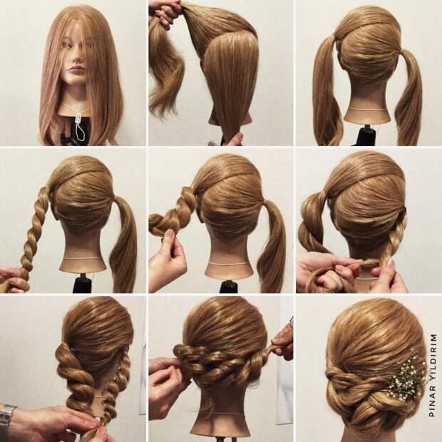 Простая нарядная укладка длинных волос
