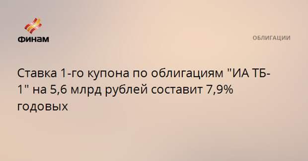 """Ставка 1-го купона по облигациям """"ИА ТБ-1"""" на 5,6 млрд рублей составит 7,9% годовых"""