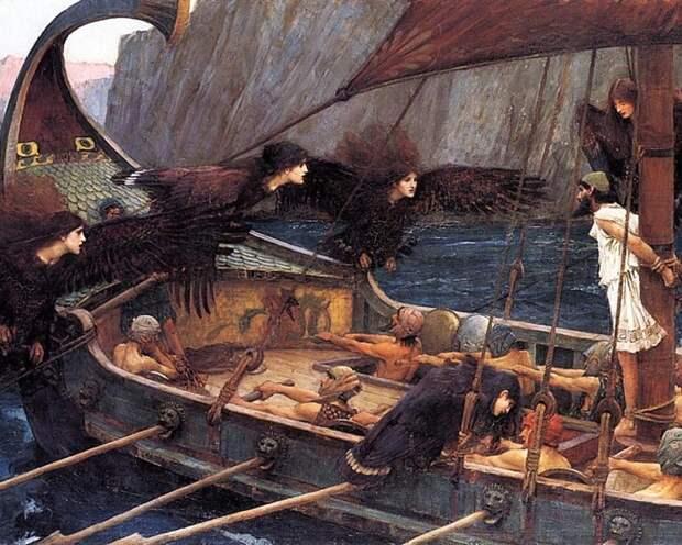 Одиссей и сирены. Картина Джона Уотерхауса.