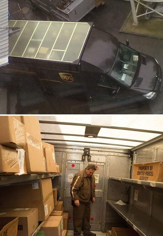 Прозрачная крыша грузовика дает возможность найти нужный груз, не зажигая свет идеи, необычно, нестандартно, нестандартные идеи, оригинально, оригинальные решения, проблемы, решения