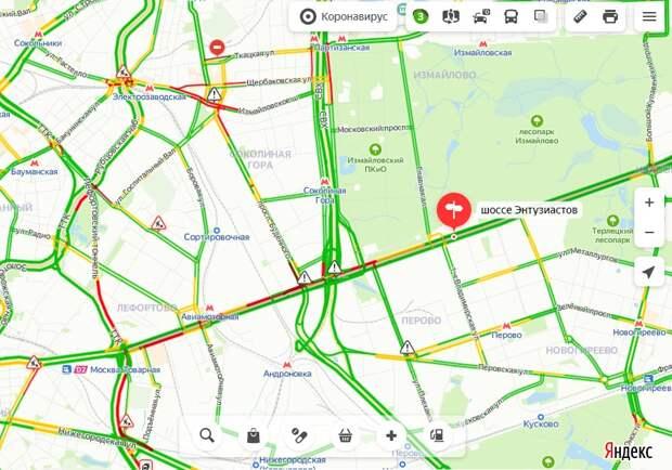 Загруженность шоссе Энтузиастов в понедельник утром составляет три балла