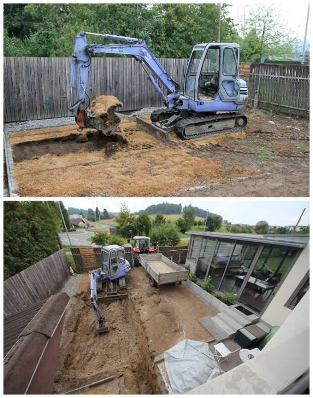 Для рытья котлована использовалась строительная техника. | Фото: googleusercontent.com.