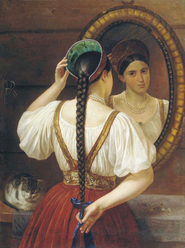 Филипп Будкин. Девушка перед зеркалом. 1848.