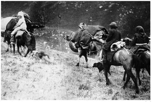 Люди на конях, с навьюченными верблюдами, покидают свои места.