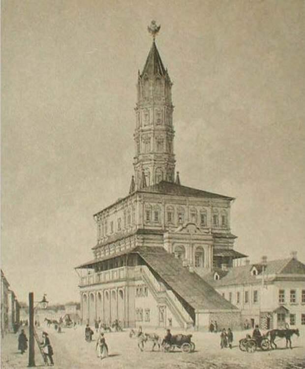 Сухарева башня, изображение 1840-х годов. wikimedia