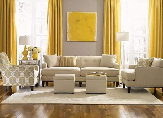 Прекрасный вариант создать интерьер в желто-серых тонах с яркими желтыми шторами.