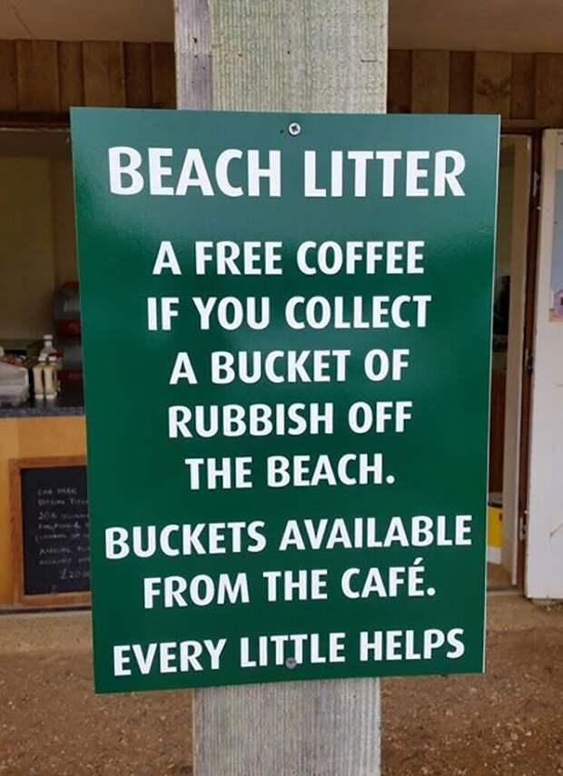 Пляжное кафе предлагает бесплатный кофе любому, кто соберет на пляже ведро мусора. Ведро можно получить в кафе идеи, необычно, нестандартно, нестандартные идеи, оригинально, оригинальные решения, проблемы, решения