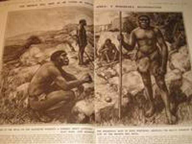 Разворот The Illustrated London News от 19 ноября 1921 г с реконструкцией родезийских людей, выполненной Амеди Форести