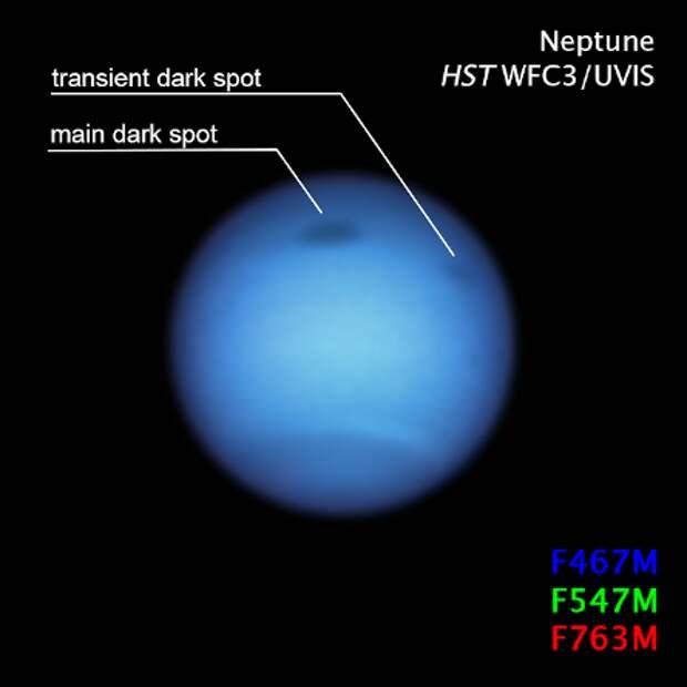 Астрономы нашли на Нептуне «неправильное» темное пятно