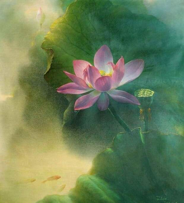 Jiang Debin. Цветы акварелью. Лотос двадцатый