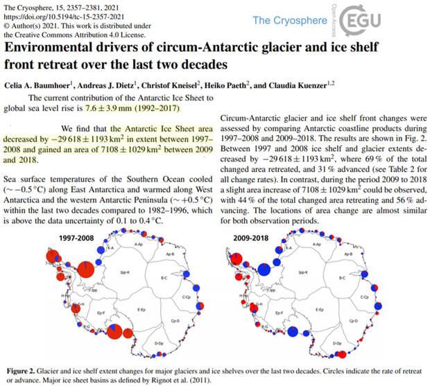 Новое исследование: Антарктида прибавила 0,76 см к уровню моря с 1992 года... протяженность льда увеличивается с 2009 года