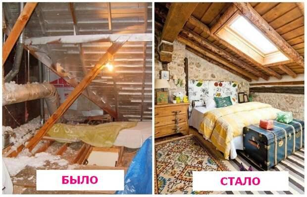 Сделали уютную спальню из старого чердака допосле
