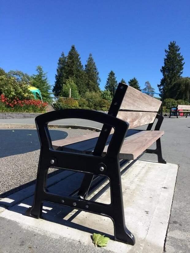 Спинку этой парковой скамейки можно передвинуть, чтобы сесть лицом в другую сторону идеи, необычно, нестандартно, нестандартные идеи, оригинально, оригинальные решения, проблемы, решения