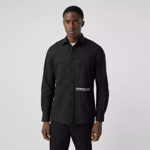 модная черная рубашка мужская
