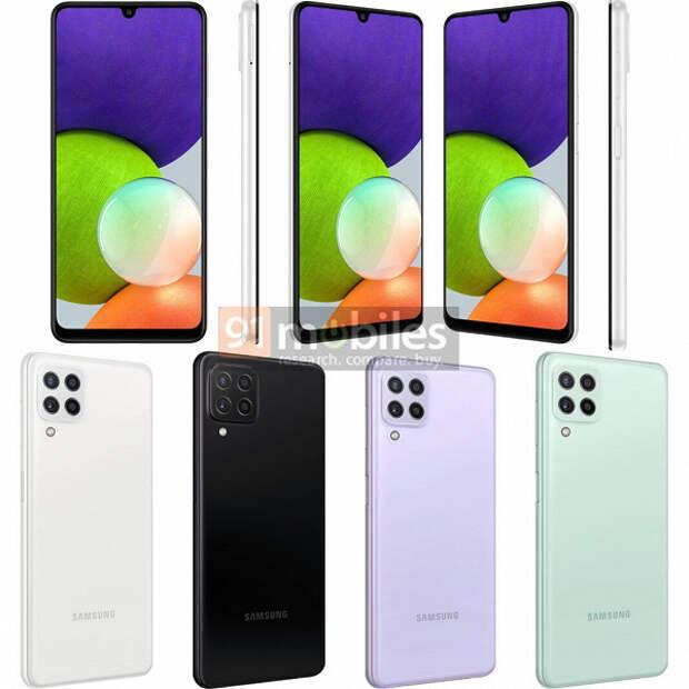Так выглядит самый дешевый смартфон Samsung с поддержкой 5G. Опубликованы рендеры и характеристики Galaxy A22 5G и Galaxy A22 4G